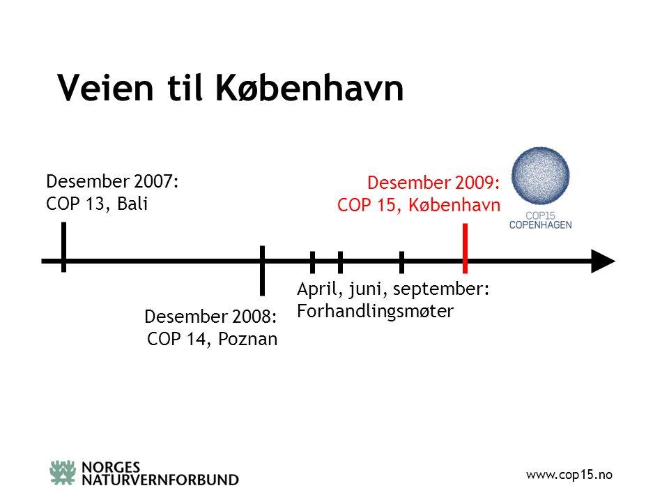 www.cop15.no Veien til København Desember 2007: COP 13, Bali Desember 2008: COP 14, Poznan Desember 2009: COP 15, København April, juni, september: Forhandlingsmøter