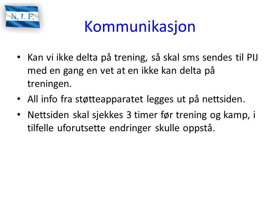 Kommunikasjon • Kan vi ikke delta på trening, så skal sms sendes til PIJ med en gang en vet at en ikke kan delta på treningen. • All info fra støtteap
