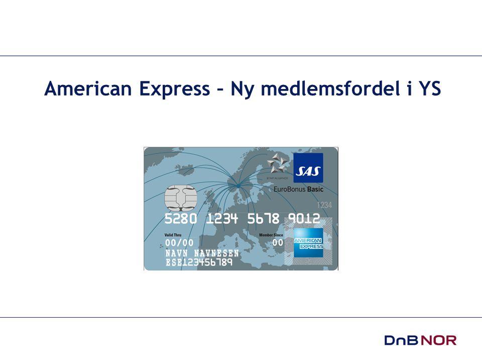 17.11.2008 Version 1,0 2 • Drevet av DnB NOR siden 1999 • Inntil i år har vi kun hatt de tradisjonelle American Express kortene Green og Gold • Nå lanserer vi American Express som et nytt medlemstilbud for YS • De viktigste verdiene til American Express er: • Service • Tilgjengelighet • Sikkerhet • American Express retter seg mot reise og opplevelses markedet.