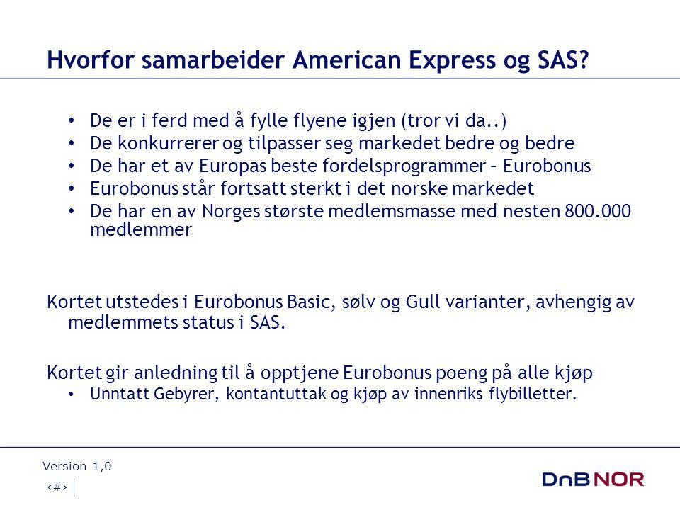 17.11.2008 Version 1,0 6 American Express for YS Product FeaturesFlexi Card Issuer Funded Benefits EuroBonus poeng opptjening for alle kjøpNOK 100 = 10B Pts Velkomst bonus1,000 EB Pts Revolverende kredittJa ReiseforsikringJa Kjøpsforsikring og leiebilforsikringJa Stopservice +Kr 250,- Travel privilegesja American Express Selects Discount Programmeja SAS Funded Features Annual Card Fee NOK 150.00 NOK 90,-