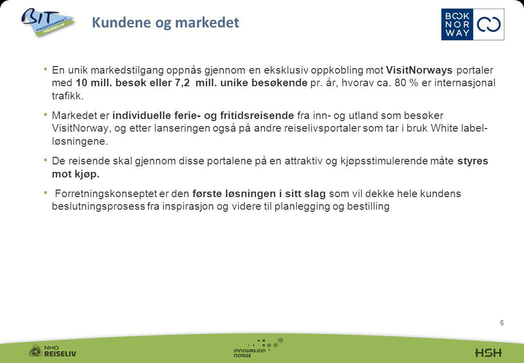 6 • En unik markedstilgang oppnås gjennom en eksklusiv oppkobling mot VisitNorways portaler med 10 mill.