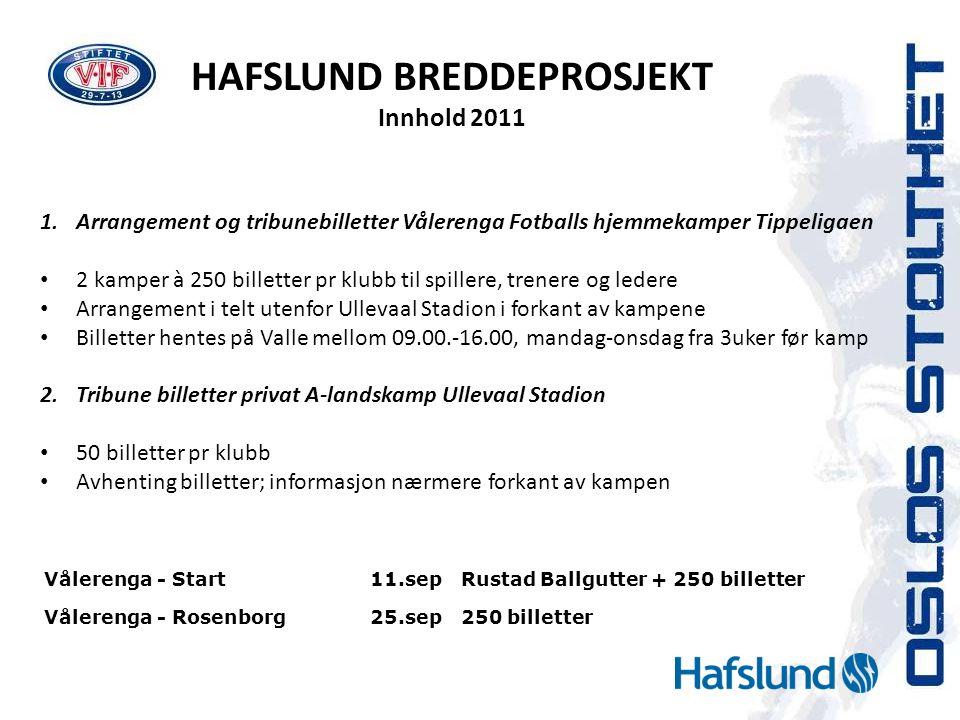 HAFSLUND BREDDEPROSJEKT Innhold 2011 1.Arrangement og tribunebilletter Vålerenga Fotballs hjemmekamper Tippeligaen • 2 kamper à 250 billetter pr klubb