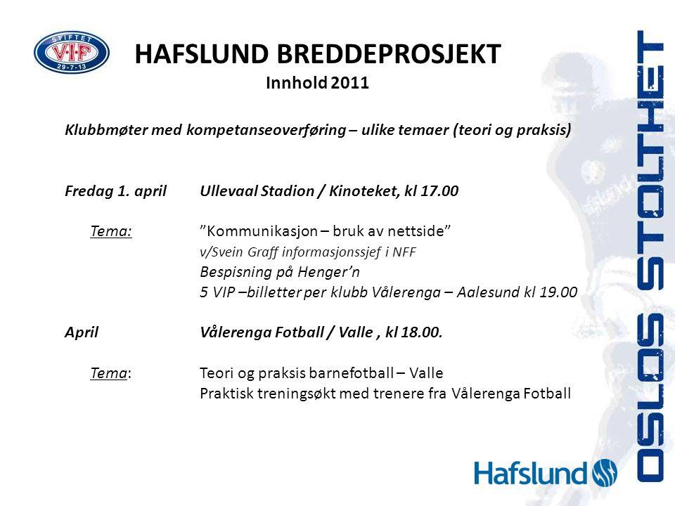 HAFSLUND BREDDEPROSJEKT Innhold 2011 Klubbmøter med kompetanseoverføring – ulike temaer (teori og praksis) Fredag 1. aprilUllevaal Stadion / Kinoteket