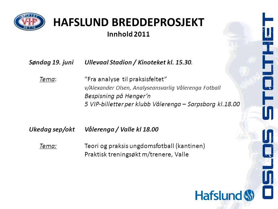 """HAFSLUND BREDDEPROSJEKT Innhold 2011 Søndag 19. juniUllevaal Stadion / Kinoteket kl. 15.30. Tema:""""Fra analyse til praksisfeltet"""" v/Alexander Olsen, An"""