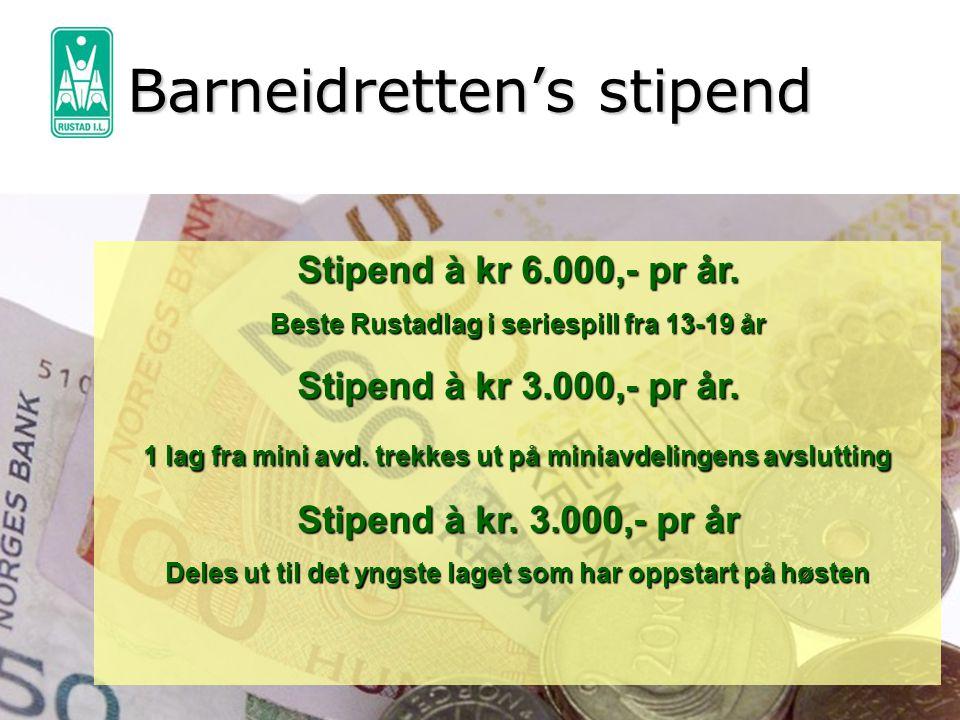 Barneidretten's stipend Stipend à kr 6.000,- pr år. Beste Rustadlag i seriespill fra 13-19 år Stipend à kr 3.000,- pr år. 1 lag fra mini avd. trekkes