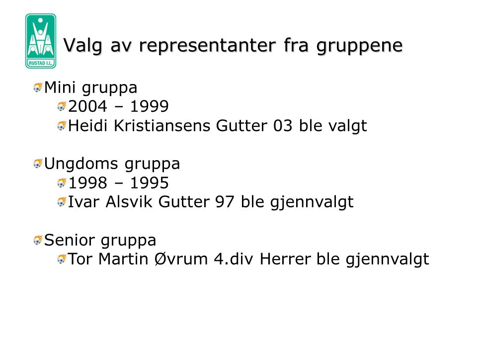 Valg av representanter fra gruppene Mini gruppa 2004 – 1999 Heidi Kristiansens Gutter 03 ble valgt Ungdoms gruppa 1998 – 1995 Ivar Alsvik Gutter 97 bl