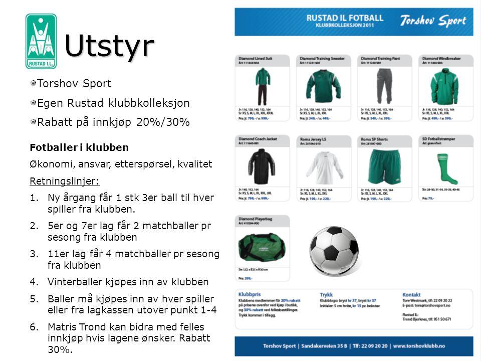 Utstyr Torshov Sport Egen Rustad klubbkolleksjon Rabatt på innkjøp 20%/30% Fotballer i klubben Økonomi, ansvar, etterspørsel, kvalitet Retningslinjer: