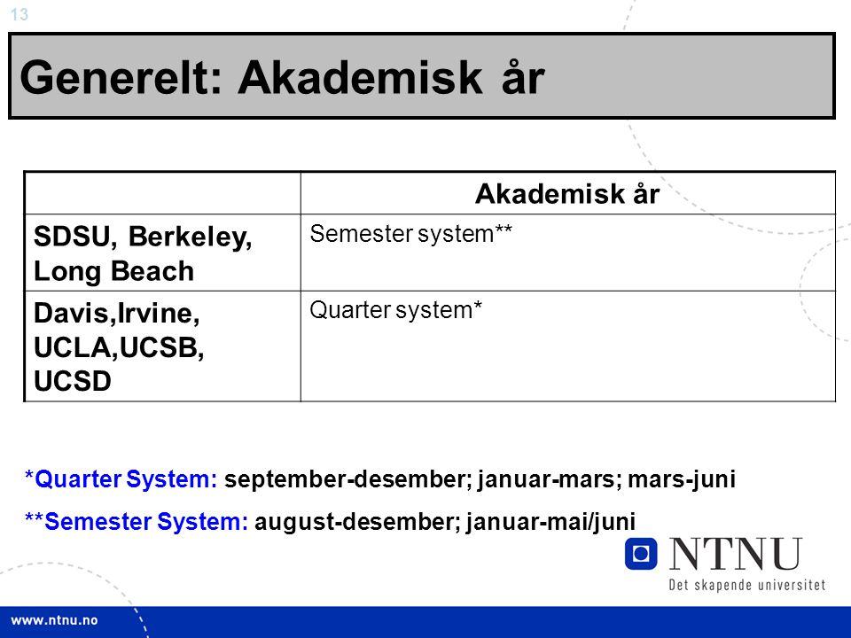 13 Generelt: Akademisk år Akademisk år SDSU, Berkeley, Long Beach Semester system** Davis,Irvine, UCLA,UCSB, UCSD Quarter system* *Quarter System: september-desember; januar-mars; mars-juni **Semester System: august-desember; januar-mai/juni