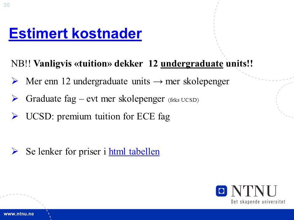 30 Estimert kostnader NB!.Vanligvis «tuition» dekker 12 undergraduate units!.