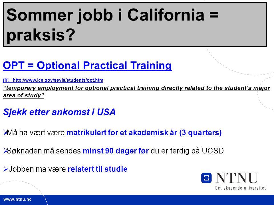 32 Sommer jobb i California = praksis.