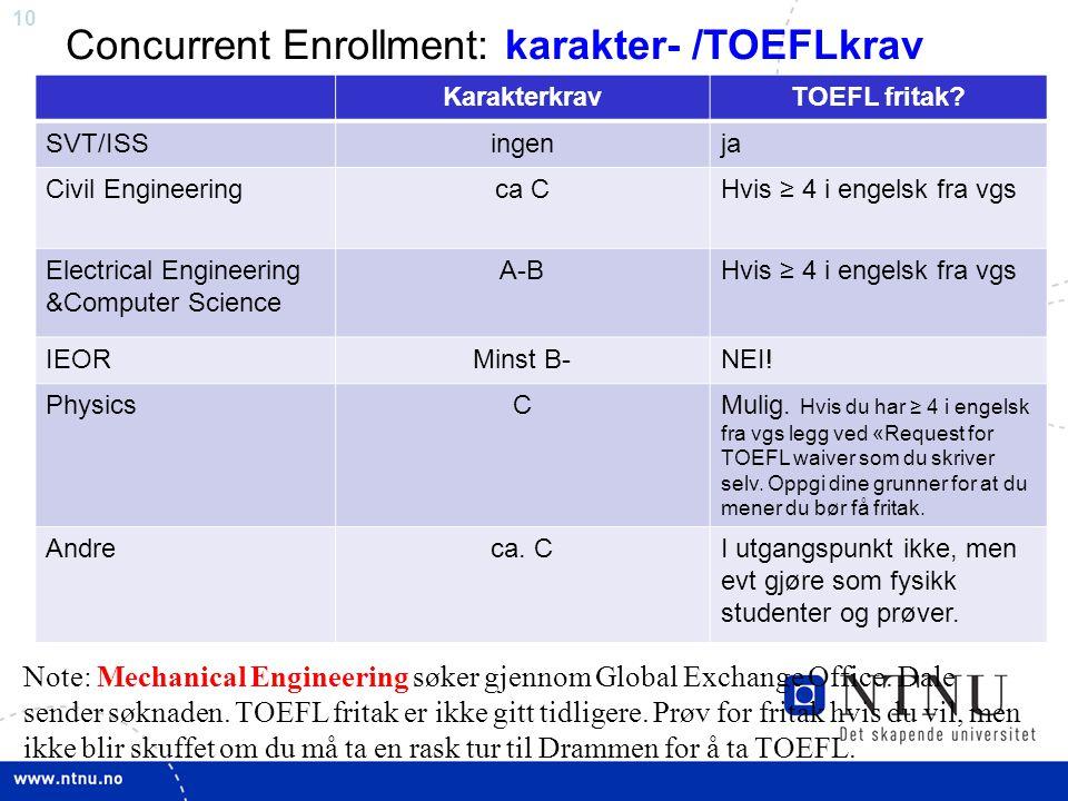10 Concurrent Enrollment: karakter- /TOEFLkrav KarakterkravTOEFL fritak.