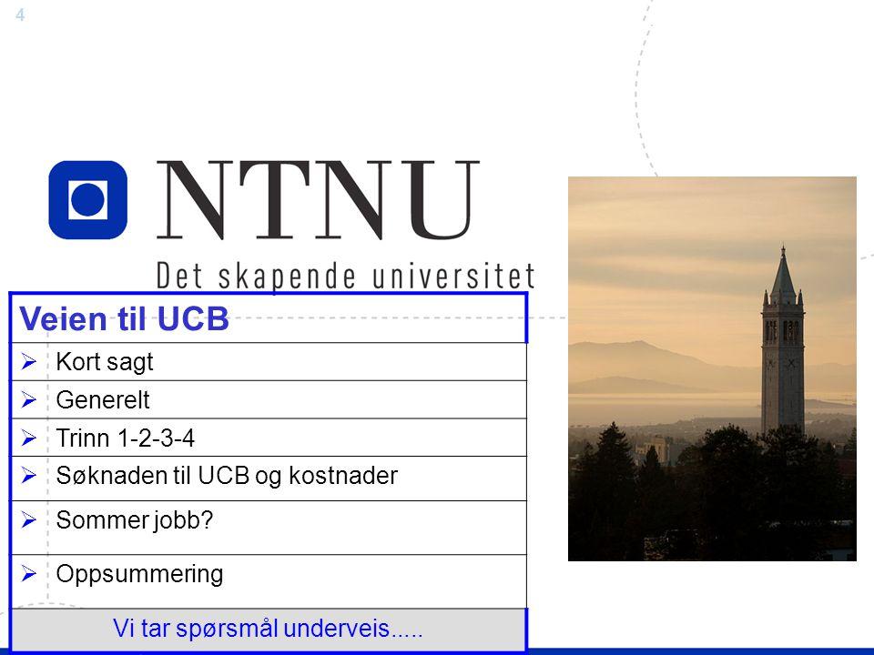 4 Felles veiledning Veien til UCB  Kort sagt  Generelt  Trinn 1-2-3-4  Søknaden til UCB og kostnader  Sommer jobb.