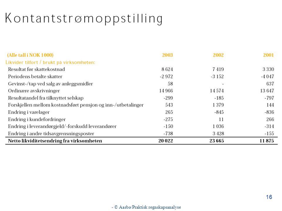 - © Aasbø/Praktisk regnskapsanalyse 16