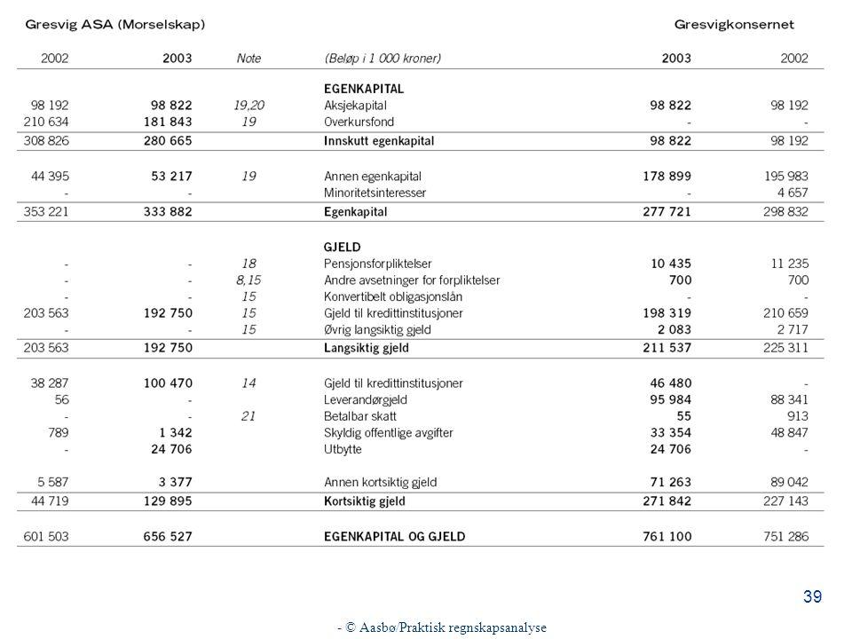 - © Aasbø/Praktisk regnskapsanalyse 39