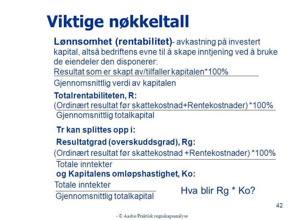 - © Aasbø/Praktisk regnskapsanalyse 42 Viktige nøkkeltall Lønnsomhet (rentabilitet) - avkastning på investert kapital, altså bedriftens evne til å skape inntjening ved å bruke de eiendeler den disponerer: Resultat som er skapt av/tilfaller kapitalen*100% Gjennomsnittlig verdi av kapitalen Totalrentabiliteten, R: (Ordinært resultat før skattekostnad+Rentekostnader) *100% Gjennomsnittlig totalkapital Tr kan splittes opp i: Resultatgrad (overskuddsgrad), Rg: (Ordinært resultat før skattekostnad +Rentekostnader) *100% Totale inntekter og Kapitalens omløpshastighet, Ko: Totale inntekter Gjennomsnittlig totalkapital Hva blir Rg * Ko?