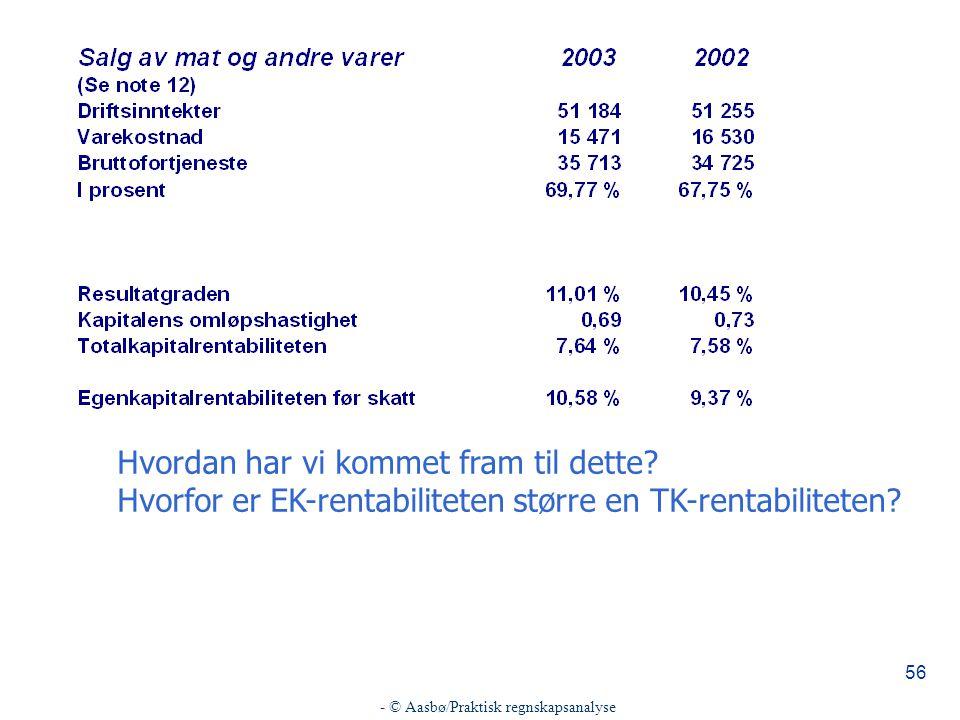 - © Aasbø/Praktisk regnskapsanalyse 56 Hvordan har vi kommet fram til dette.