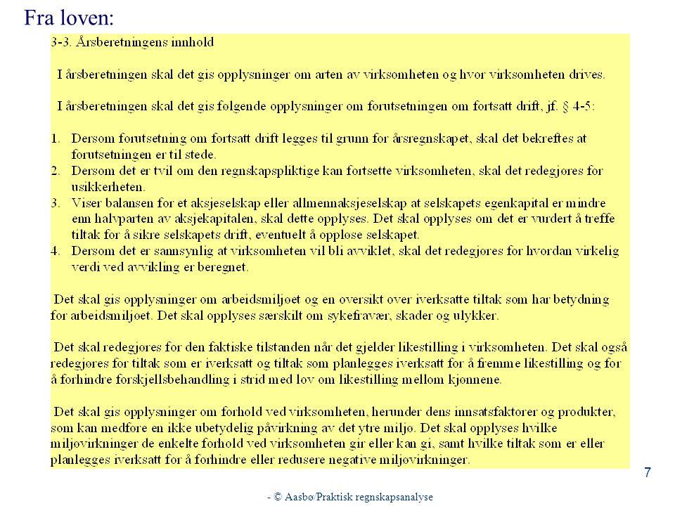 - © Aasbø/Praktisk regnskapsanalyse 28