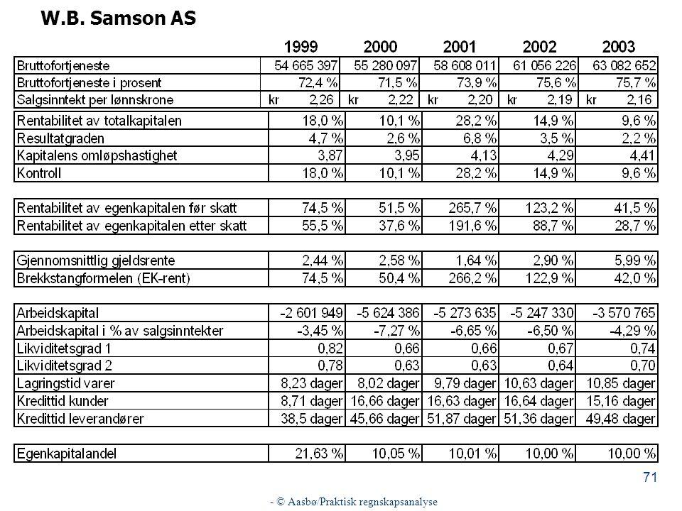- © Aasbø/Praktisk regnskapsanalyse 71 W.B. Samson AS