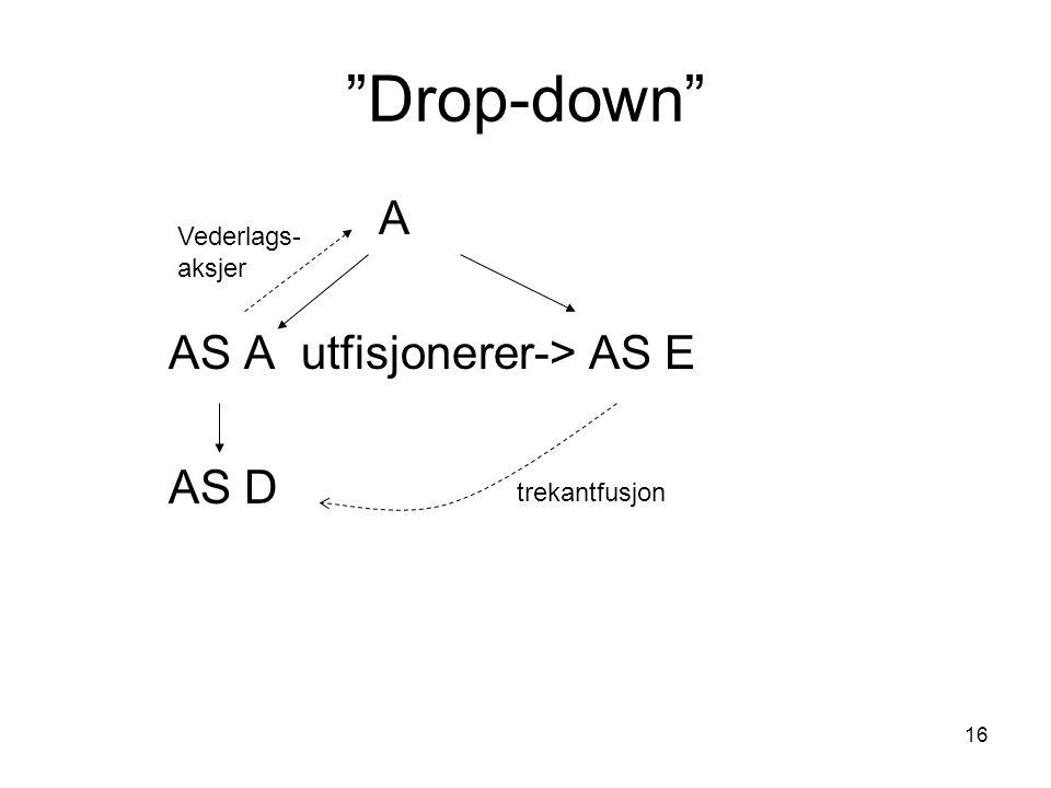 """16 """"Drop-down"""" A AS A utfisjonerer->AS E AS D trekantfusjon Vederlags- aksjer"""