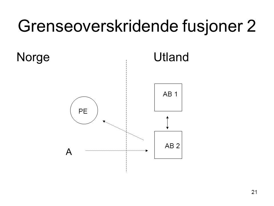 21 Grenseoverskridende fusjoner 2 NorgeUtland AB 1 AB 2 PE A