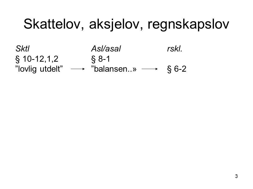 """3 Skattelov, aksjelov, regnskapslov SktlAsl/asalrskl. § 10-12,1,2§ 8-1 """"lovlig utdelt""""""""balansen..»§ 6-2"""