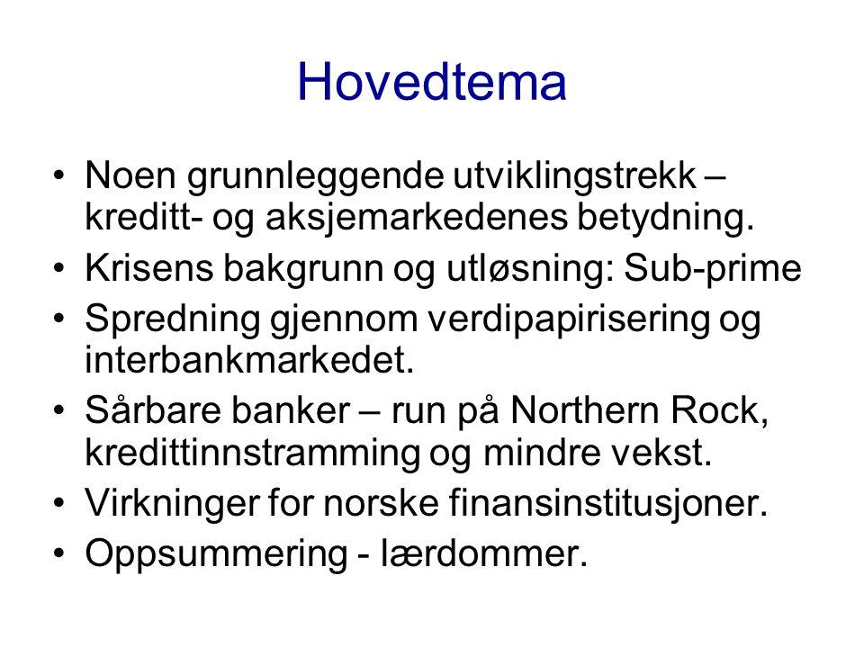 Hovedtema •Noen grunnleggende utviklingstrekk – kreditt- og aksjemarkedenes betydning.