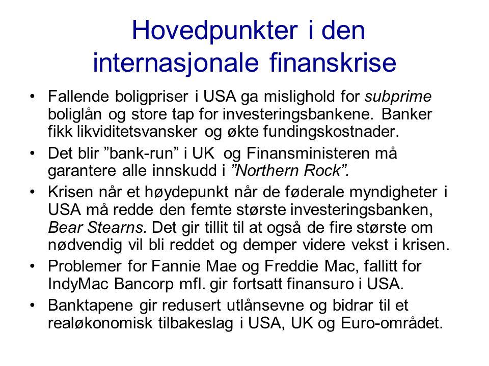 Hovedpunkter i den internasjonale finanskrise •Fallende boligpriser i USA ga mislighold for subprime boliglån og store tap for investeringsbankene.