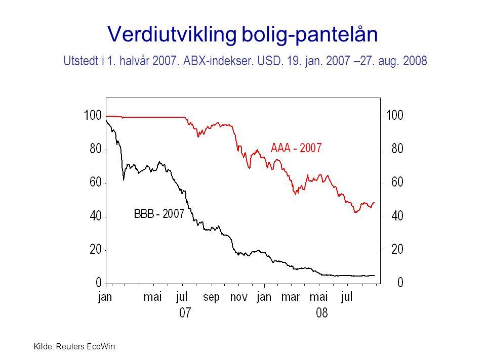 Verdiutvikling bolig-pantelån Utstedt i 1.halvår 2007.