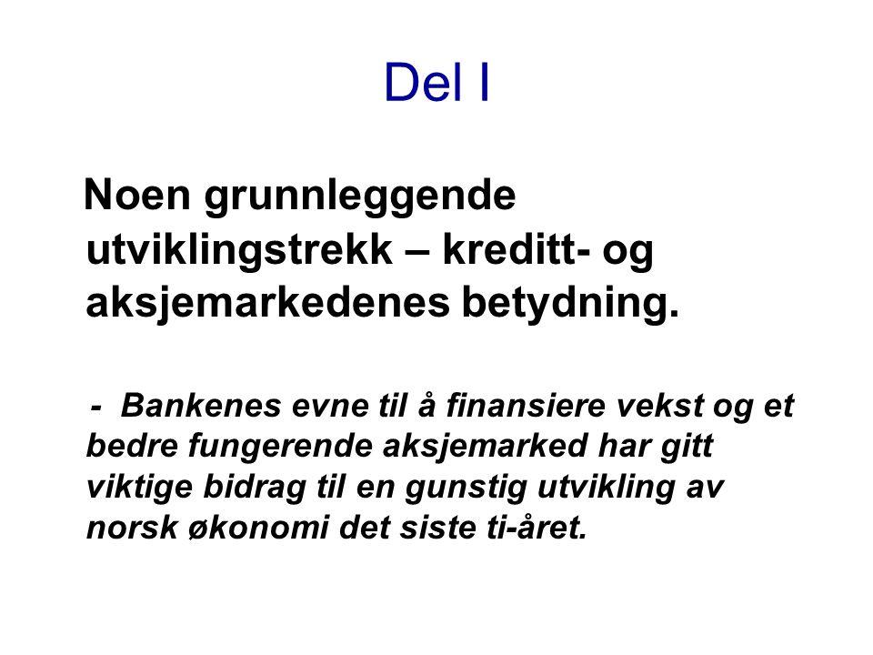 Historisk utvikling av aksjer i Norge Markedsverdien av aksjer i norske selskaper notert på Oslo Børs i prosent av BNP for Fastlands-Norge Kilder: Oslo Børs og Statistisk sentralbyrå