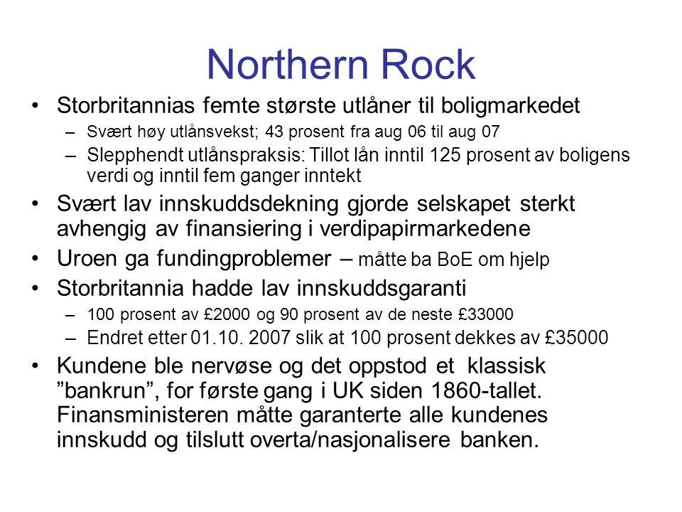 Northern Rock •Storbritannias femte største utlåner til boligmarkedet –Svært høy utlånsvekst; 43 prosent fra aug 06 til aug 07 –Slepphendt utlånspraksis: Tillot lån inntil 125 prosent av boligens verdi og inntil fem ganger inntekt •Svært lav innskuddsdekning gjorde selskapet sterkt avhengig av finansiering i verdipapirmarkedene •Uroen ga fundingproblemer – måtte ba BoE om hjelp •Storbritannia hadde lav innskuddsgaranti –100 prosent av £2000 og 90 prosent av de neste £33000 –Endret etter 01.10.