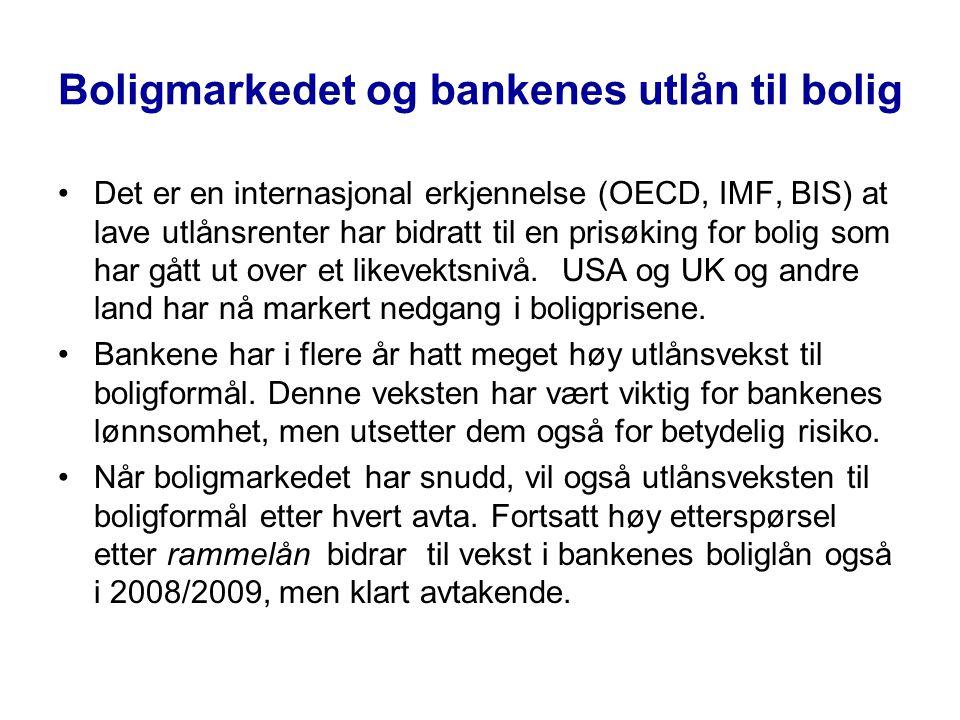Boligmarkedet og bankenes utlån til bolig •Det er en internasjonal erkjennelse (OECD, IMF, BIS) at lave utlånsrenter har bidratt til en prisøking for bolig som har gått ut over et likevektsnivå.
