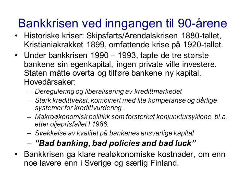 Bankkrisen ved inngangen til 90-årene •Historiske kriser: Skipsfarts/Arendalskrisen 1880-tallet, Kristianiakrakket 1899, omfattende krise på 1920-tallet.