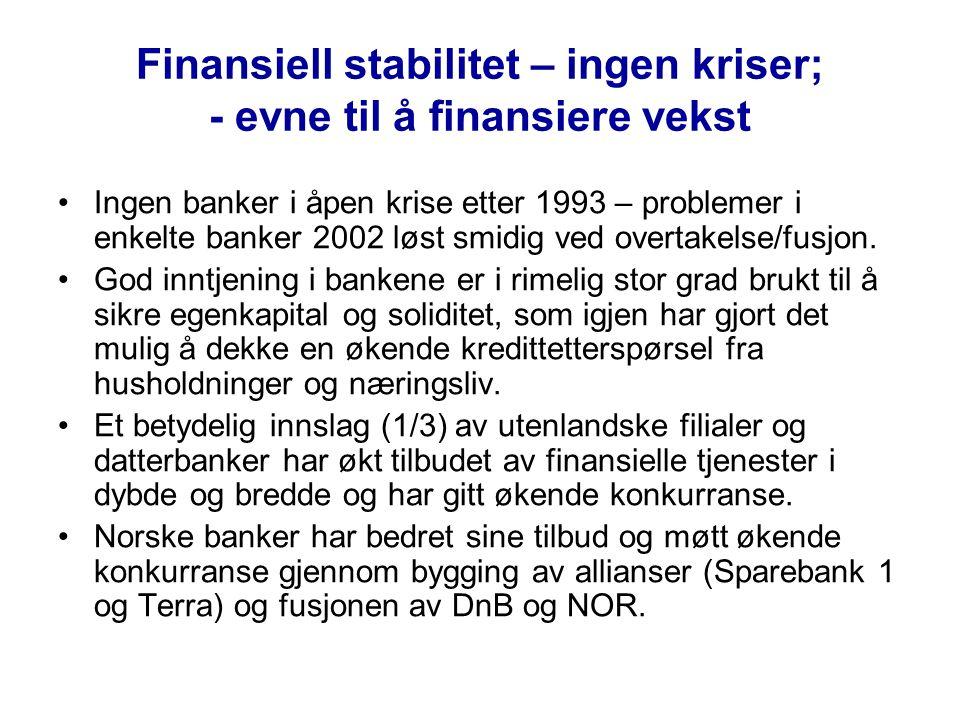 Finansiell stabilitet – ingen kriser; - evne til å finansiere vekst •Ingen banker i åpen krise etter 1993 – problemer i enkelte banker 2002 løst smidig ved overtakelse/fusjon.