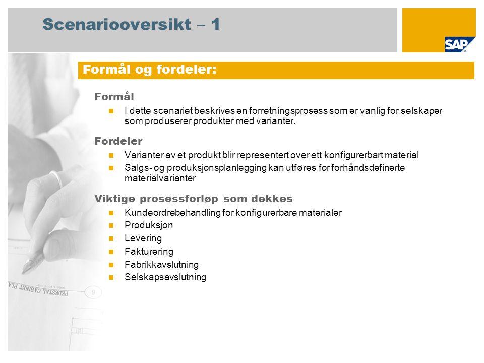 Scenariooversikt – 2 Obligatorisk  SAP enhancement package 4 for SAP ERP 6.0 Brukerroller involvert i prosessforløp  Produksjonsplanlegger  Produksjon  Lagersjef  Fabrikkcontroller  Innkjøper SAP-applikasjoner som kreves: