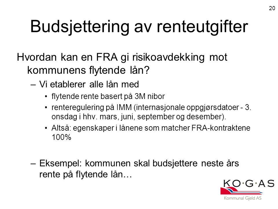 Budsjettering av renteutgifter Hvordan kan en FRA gi risikoavdekking mot kommunens flytende lån.