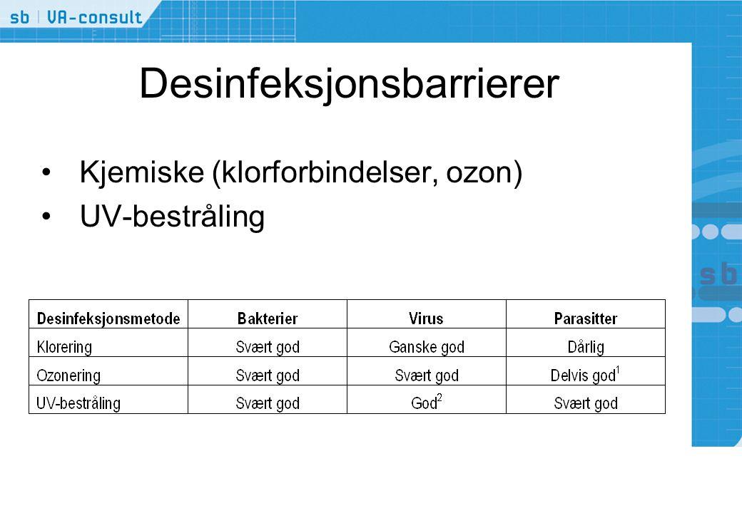 Desinfeksjonsbarrierer •Kjemiske (klorforbindelser, ozon) •UV-bestråling