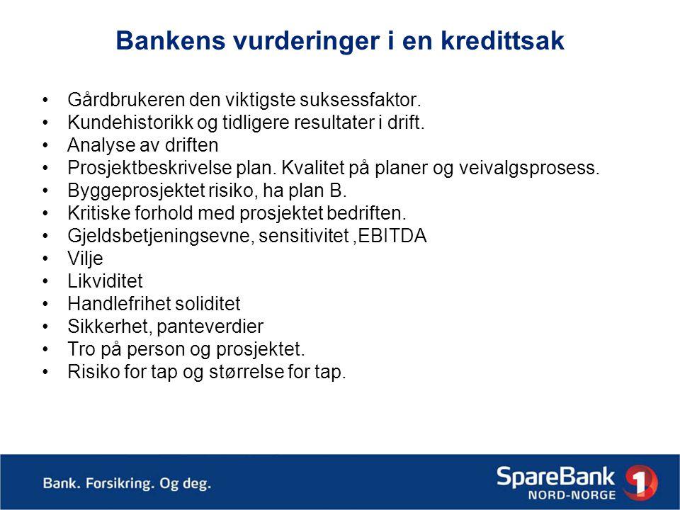 Bankens vurderinger i en kredittsak •Gårdbrukeren den viktigste suksessfaktor.