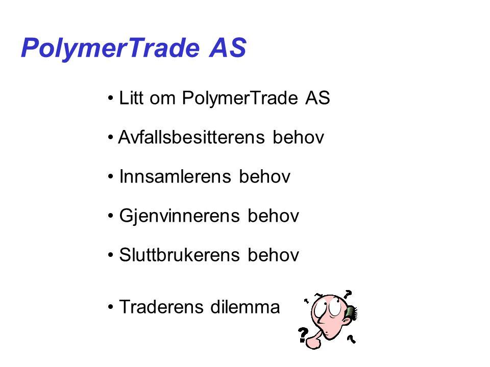 PolymerTrade AS • Litt om PolymerTrade AS • Avfallsbesitterens behov • Innsamlerens behov • Gjenvinnerens behov • Sluttbrukerens behov • Traderens dilemma