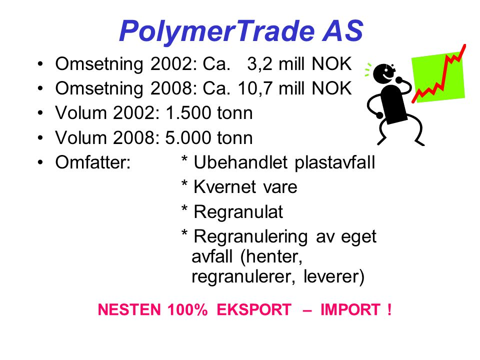PolymerTrade AS •Omsetning 2002: Ca. 3,2 mill NOK •Omsetning 2008: Ca.