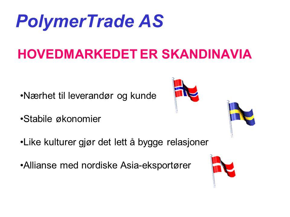 PolymerTrade AS HOVEDMARKEDET ER SKANDINAVIA •Nærhet til leverandør og kunde •Stabile økonomier •Like kulturer gjør det lett å bygge relasjoner •Allianse med nordiske Asia-eksportører