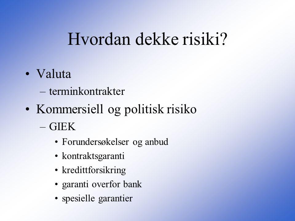 Hvordan dekke risiki? •Valuta –terminkontrakter •Kommersiell og politisk risiko –GIEK •Forundersøkelser og anbud •kontraktsgaranti •kredittforsikring