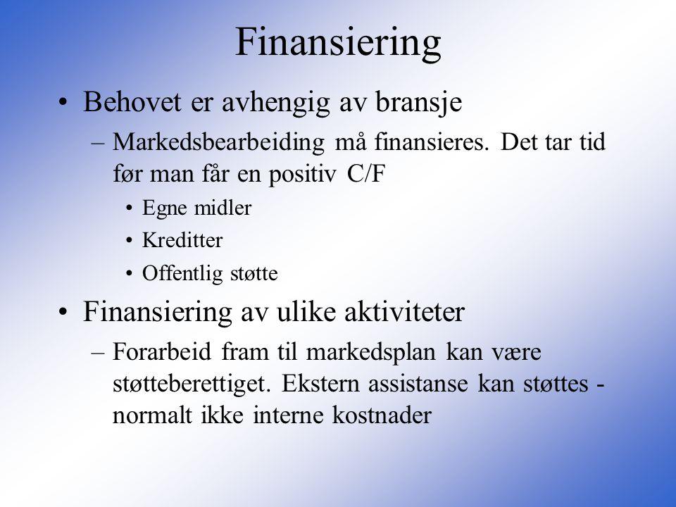 Finansiering •Behovet er avhengig av bransje –Markedsbearbeiding må finansieres. Det tar tid før man får en positiv C/F •Egne midler •Kreditter •Offen