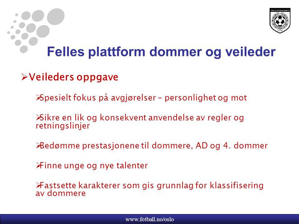 www.fotball.no/oslo Felles plattform dommer og veileder  Veileders oppgave  Spesielt fokus på avgjørelser – personlighet og mot  Sikre en lik og konsekvent anvendelse av regler og retningslinjer  Bedømme prestasjonene til dommere, AD og 4.