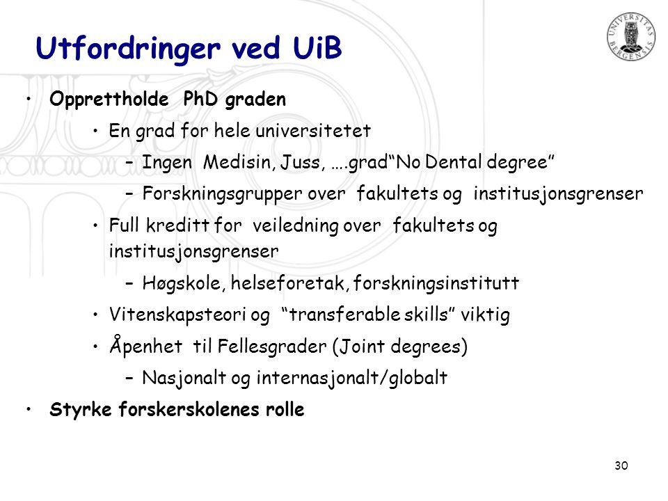 30 Utfordringer ved UiB •Opprettholde PhD graden •En grad for hele universitetet –Ingen Medisin, Juss, ….grad No Dental degree –Forskningsgrupper over fakultets og institusjonsgrenser •Full kreditt for veiledning over fakultets og institusjonsgrenser –Høgskole, helseforetak, forskningsinstitutt •Vitenskapsteori og transferable skills viktig •Åpenhet til Fellesgrader (Joint degrees) –Nasjonalt og internasjonalt/globalt •Styrke forskerskolenes rolle