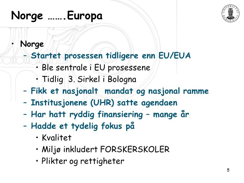 5 Norge …….Europa •Norge –Startet prosessen tidligere enn EU/EUA •Ble sentrale i EU prosessene •Tidlig 3.