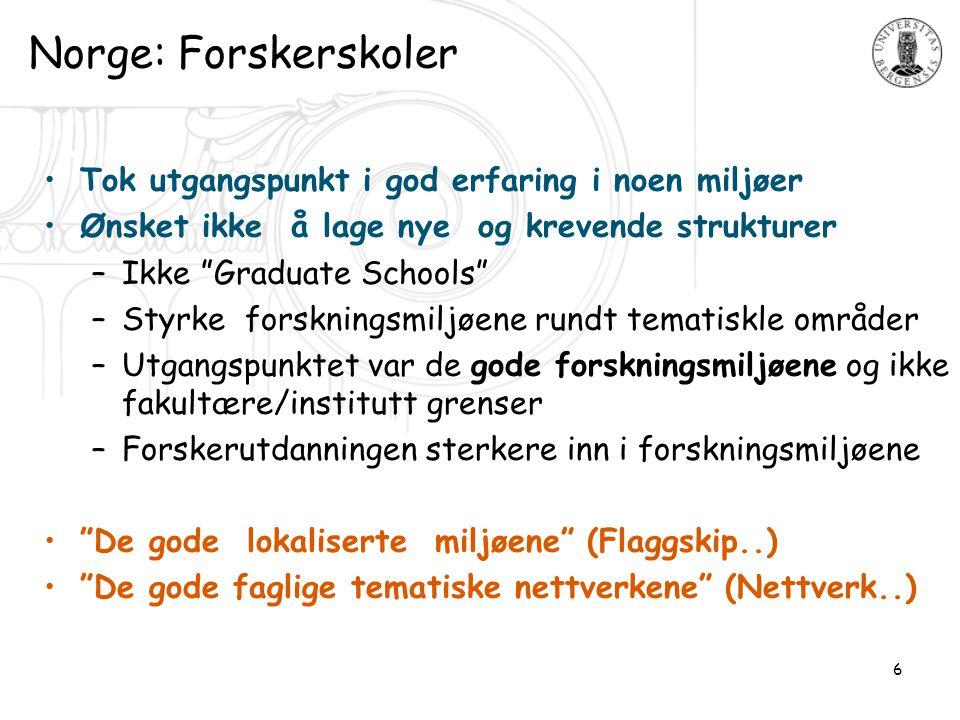 """6 Norge: Forskerskoler •Tok utgangspunkt i god erfaring i noen miljøer •Ønsket ikke å lage nye og krevende strukturer –Ikke """"Graduate Schools"""" –Styrke"""