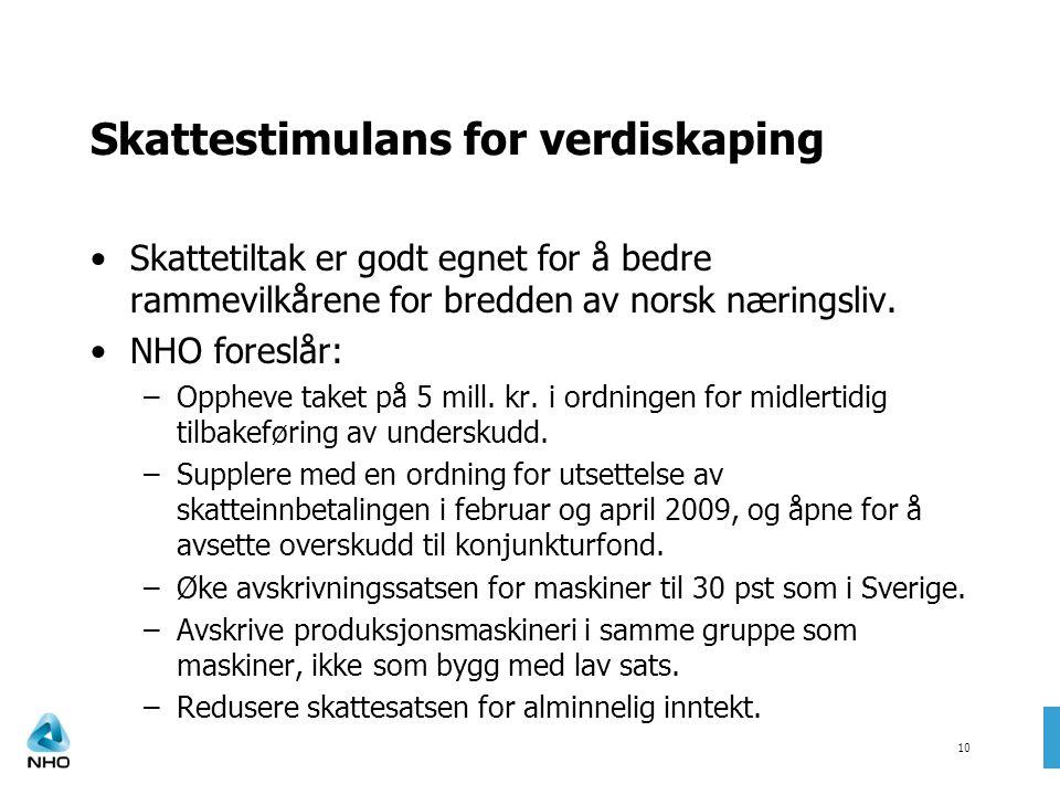 10 Skattestimulans for verdiskaping •Skattetiltak er godt egnet for å bedre rammevilkårene for bredden av norsk næringsliv. •NHO foreslår: –Oppheve ta