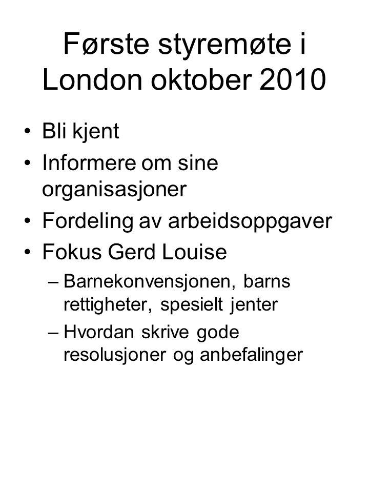 Første styremøte i London oktober 2010 •Bli kjent •Informere om sine organisasjoner •Fordeling av arbeidsoppgaver •Fokus Gerd Louise –Barnekonvensjone