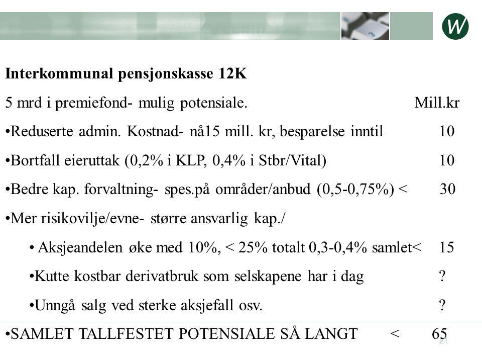 21 Interkommunal pensjonskasse 12K 5 mrd i premiefond- mulig potensiale. Mill.kr •Reduserte admin. Kostnad- nå15 mill. kr, besparelse inntil 10 •Bortf