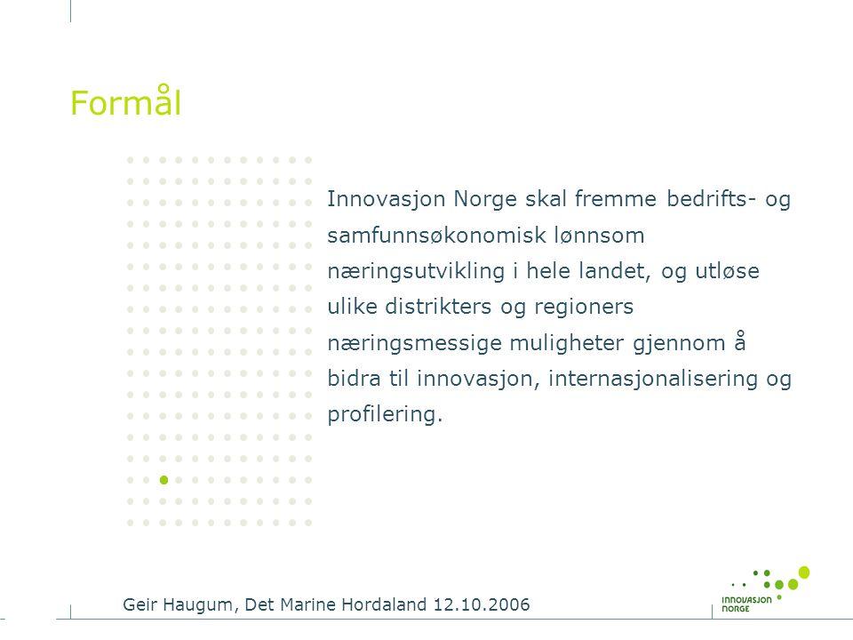 Geir Haugum, Det Marine Hordaland 12.10.2006 Formål Innovasjon Norge skal fremme bedrifts- og samfunnsøkonomisk lønnsom næringsutvikling i hele landet